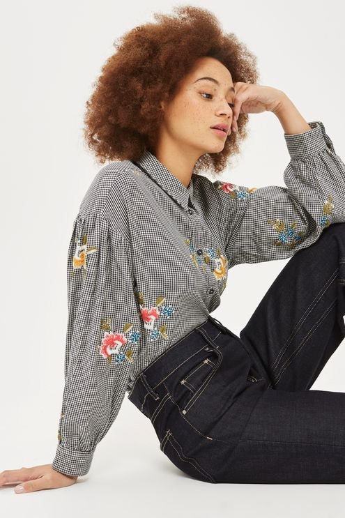 PETITE Houndstooth Floral Embroidered Shirt