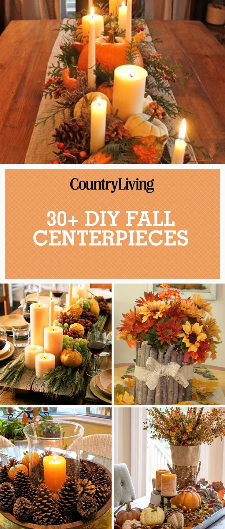 Save these DIY Fall centerpiece ideasfor later by pinning this image and follow Country Living onPinterestfor more.