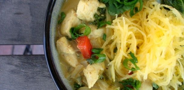 Paleo Chicken Coconut Curry Noodle Bowl