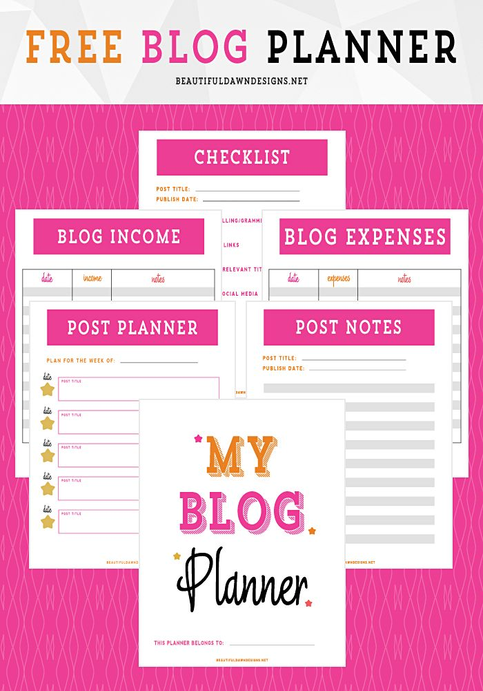 Organize your blog with this free blog planner printable. [blogging tips | freebies] - beautifuldawndesigns.net