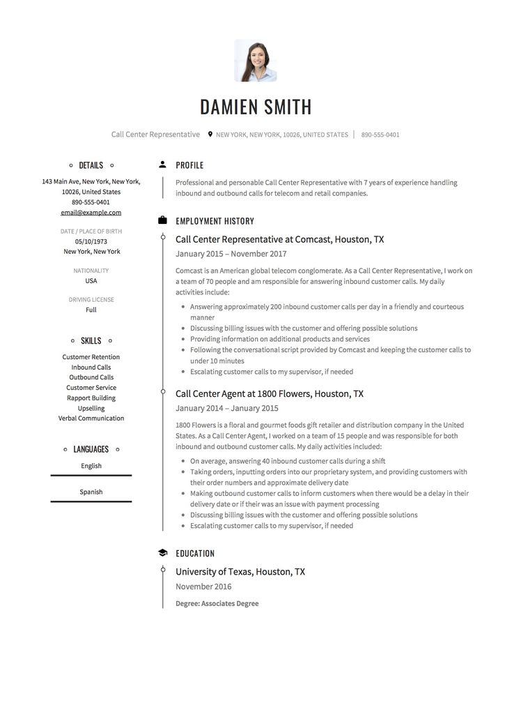 Call Center Resume Sample, Template, Example, Free, Download