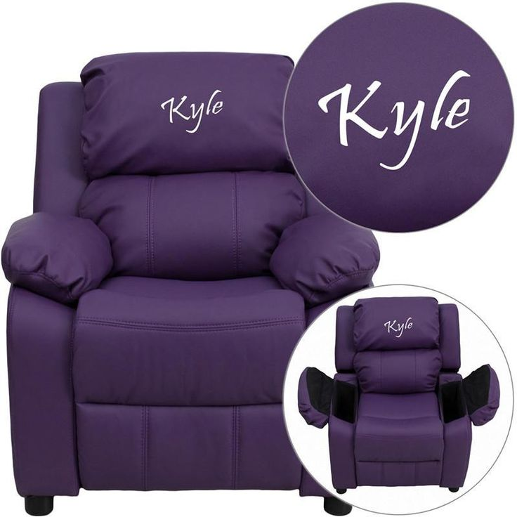 Flash Furniture BT-7985-KID-PUR-TXTEMB-GG Personalized Deluxe Padded Purple Vinyl Kids Recliner with Storage Arms