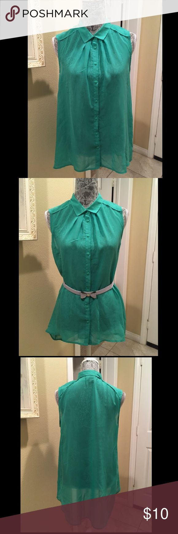 H&M Green Short Sleeve Blouse Size 12 Light wear. Comes from a smoke free home. Belt is NOT included. Size US 12. H&M Tops Button Down Shirts