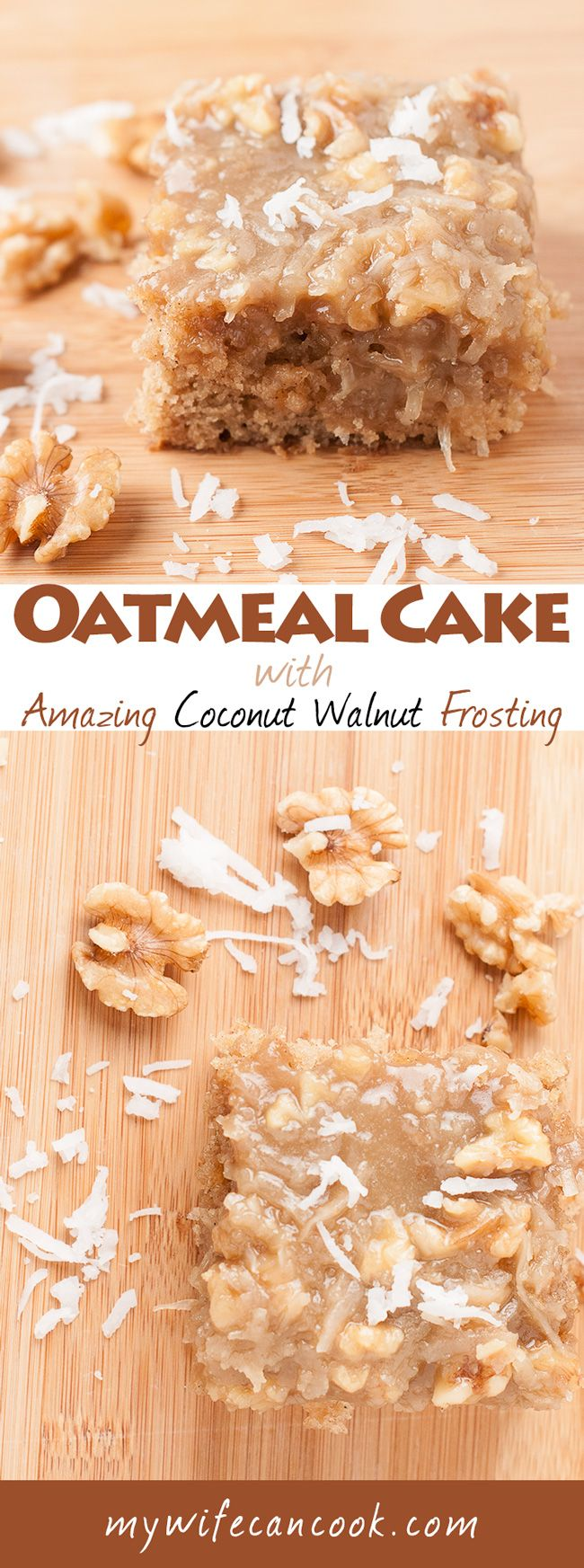 Easy Oatmeal Cake with Amazing Coconut Walnut Frosting. This cake was love at first bite. Moist and delicious oatmeal cake topped with the best cake frosting imaginable: coconut and chopped walnuts in an icing reminiscent of what you'd find on traditional German Chocolate Cake. (icing includes butter, brown sugar, and evaporated milk). Recipe includes tips on making sure your Oatmeal Cake Coconut Walnut icing comes out perfect every time. You'd be foolish not to try this cake, bookmark it…