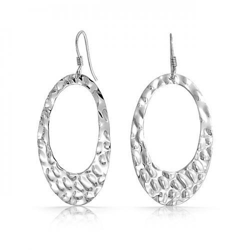 925 Sterling Silver Hammered Oval Open Dangle Drop Earrings