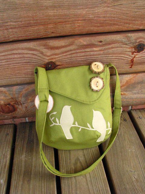 Mini Tweeting Birds Olive Green shoulder bag with adjustable strap.