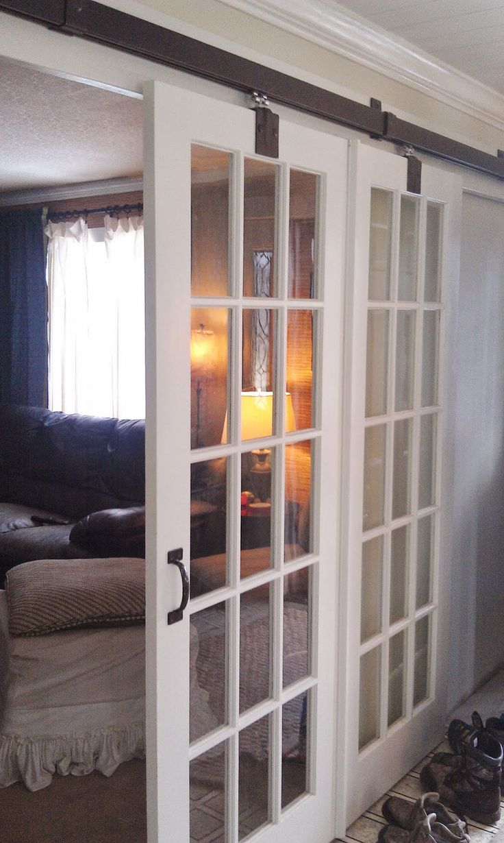 25 best ideas about glass barn doors on pinterest for Sliding glass door to french door