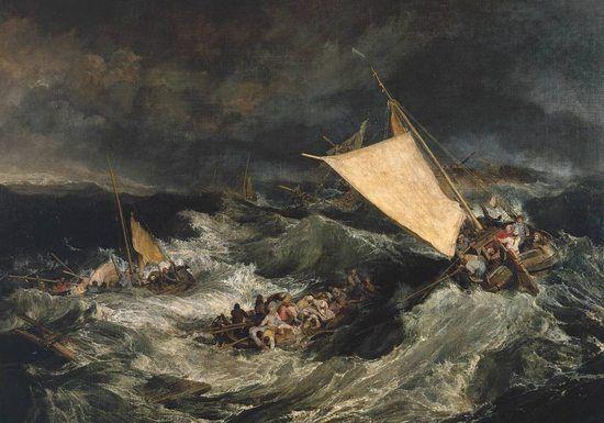 Le Naufrage, 1805, 170x241 - la stabilité des marines hollandaises est balayée par la tempête en un chaos effrayant.