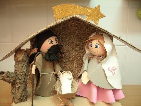 Como hacer un belén o nacimiento de navidad en goma eva. - Patrones gratis