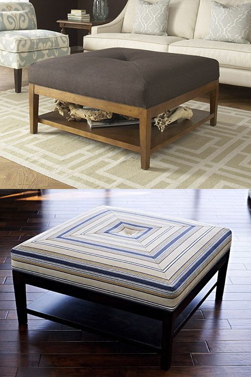 Braxton Culler: 5019-009 oversize ottoman with shelf. Option to coffee table.  Could I make this??