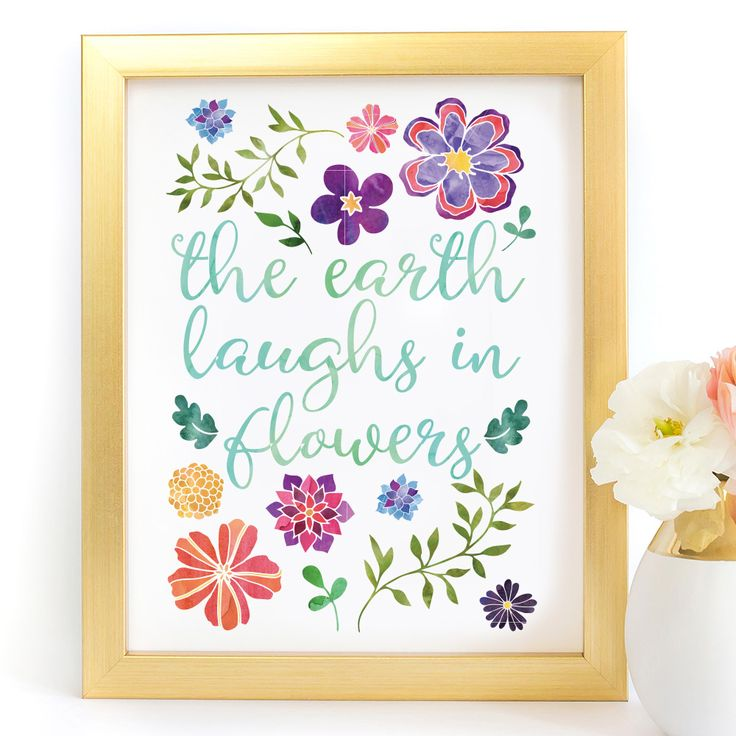 """""""The Earth Laughs In Flowers"""" Typography Art Print - Paper Ponies Boutique"""