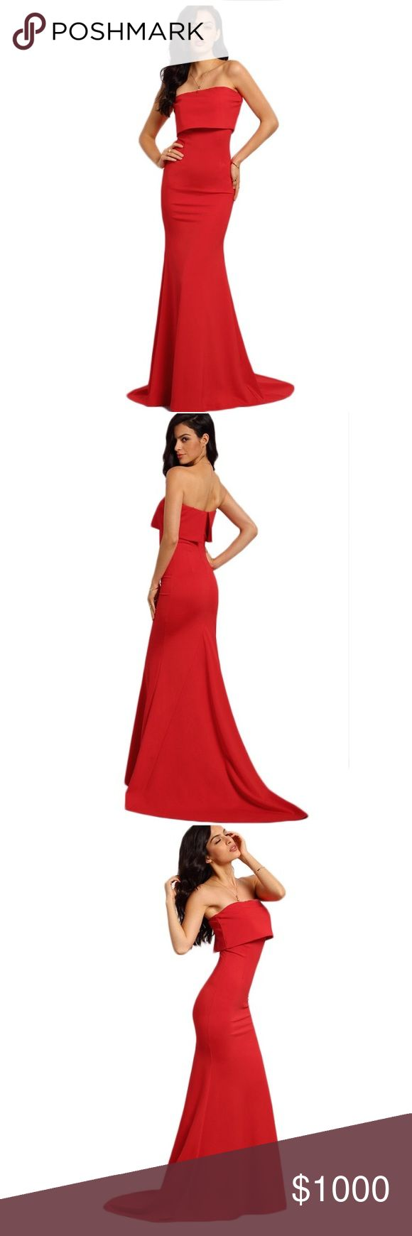 🎉COMING SOON🎉 Sexy Red Strapless Maxi Dresses Elegant Sexy Red Strapless Maxi Dress. Dresses Strapless