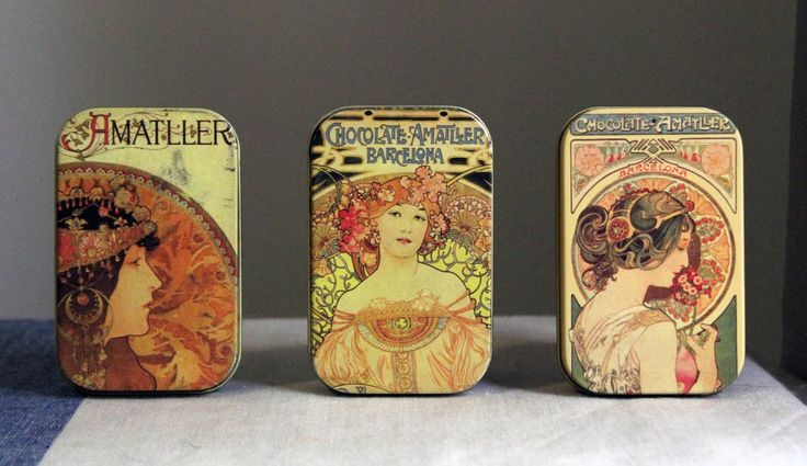 The most beautiful chocolate packaging of all time absolutely has to go to Chocolate Amatller whose tins feature beautiful Alphonse Mucha illustrations. http://www.spanishoponline.com/chocolate.html | SPANISH SHOP ONLINE
