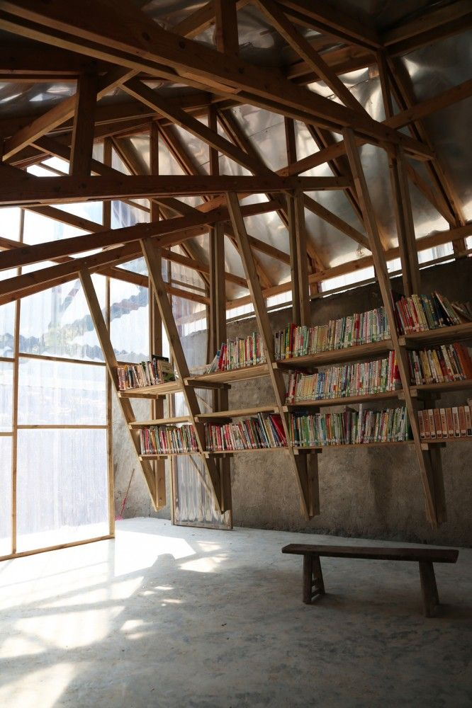 John Lin + Olivier Ottevaere: Pinch library & community center, Shuanghe village, Yunnan, China, 2014. Government led reconstruction effort after 2012 earthquake. Majority of village houses destroyed, leaving residents living in tents.