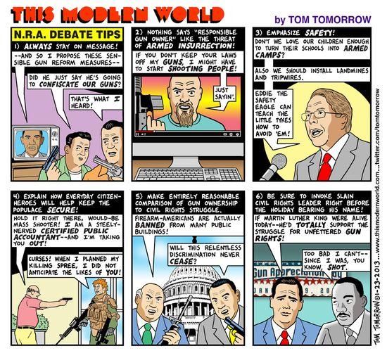NRA debate tips (Tom Tomorrow)