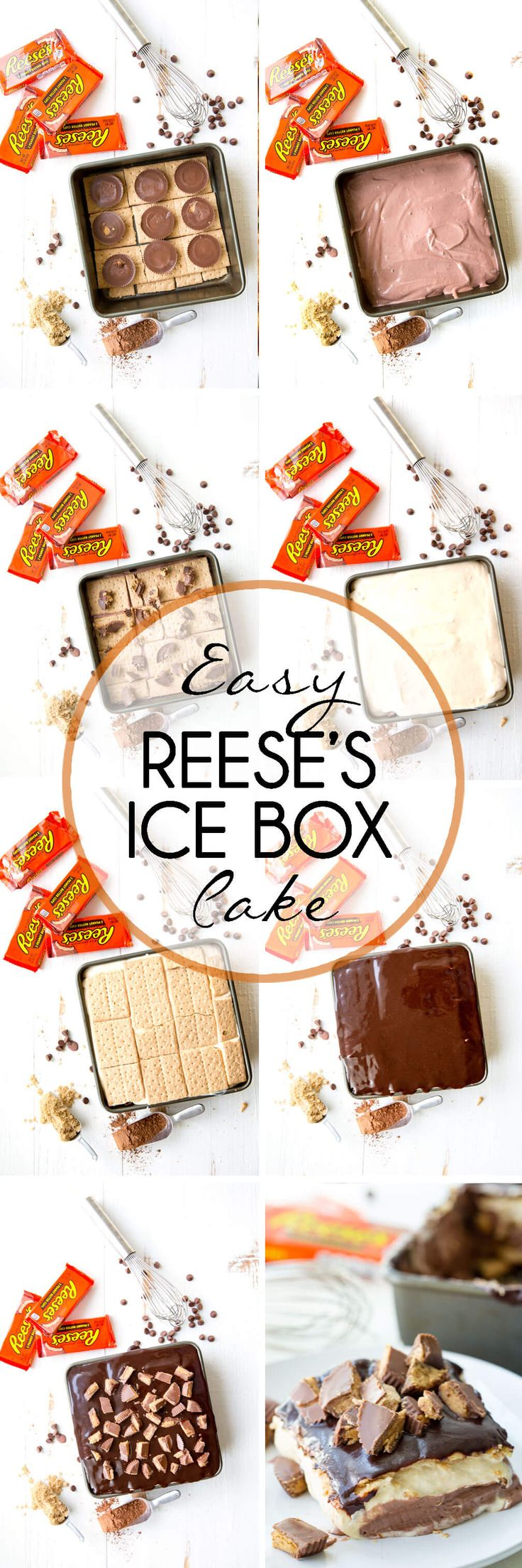 Reese's Ice Box Cake, layers of sweets covered in hot fudge sauce and peanut butter goodness #ad #beyondthejar