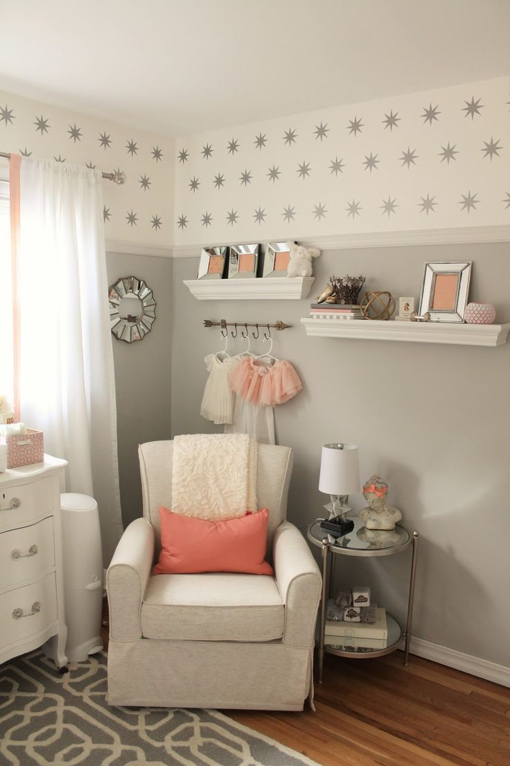 Bedroom paint ideas for girls - Gray Blush Coral Room