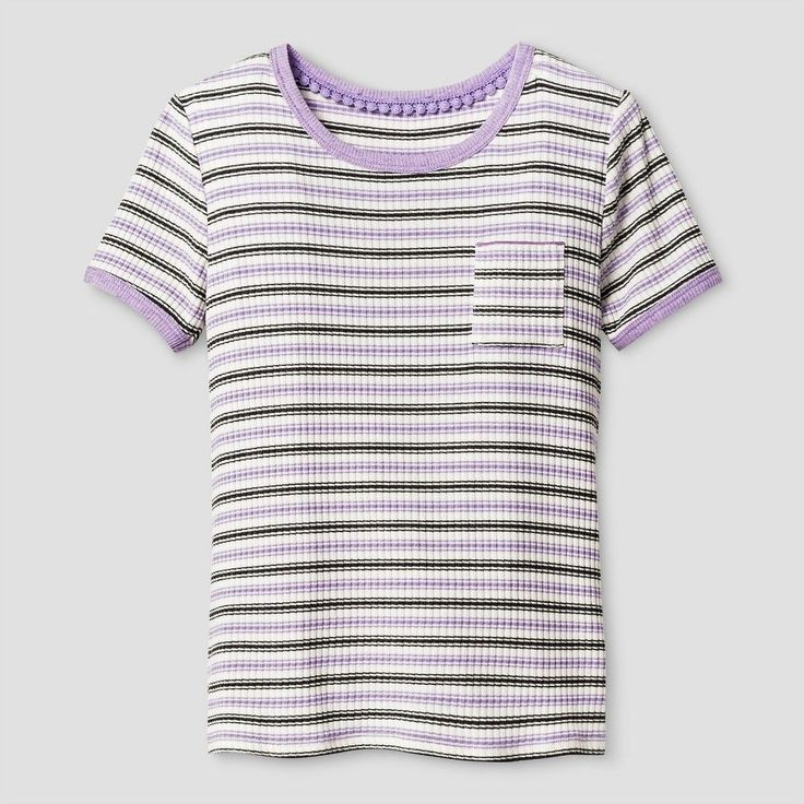 Girls' Rib Knit T-Shirt Art Class - Charcoal/Grape (Grey/Purple) M, Girl's