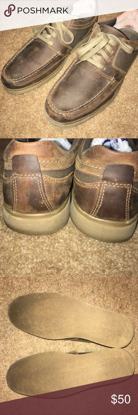 """Men's Clarks """"Brayer"""" shoes. EUC Men's Size 11. Clarks """"Brayer"""" style oxfords. Brown Leather and Canvas. Excellent Used Condition. Very few signs of wear. A few scuffs in the leather, but nothing effecting the appearance. Clarks Shoes Oxfords & Derbys"""