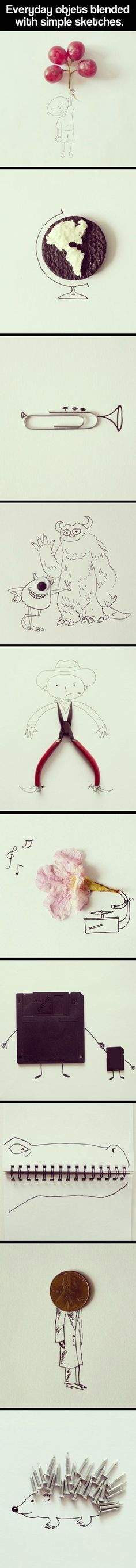 Everyday objects blended with simple sketches. These might be a little complex for little ones - but you get the idea.