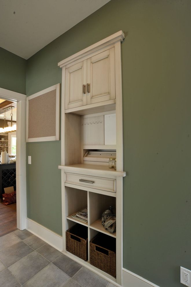 charging station for electronics Laundry Room Contemporary with bulletin board built in desk