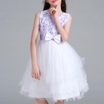 Sweet 3D Flower Decor Bowknot Mesh-layered Dress for Girls
