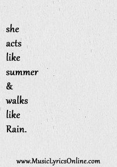 Train - Drops of Jupiter Lyrics - music lyrics, song lyrics, songs, music, song quotes, music quotes, she acts like summer & walks like rain, song lyrics I love. (Click image for full lyrics) #songlyricsIlove #musiclyrics http://www.musiclyricsonline.com/lyrics/train/drops-of-jupiter-lyrics
