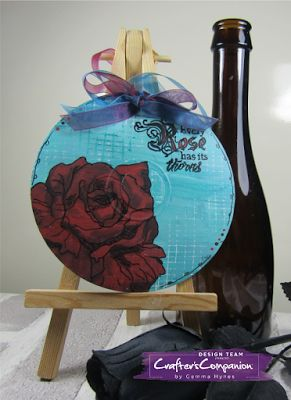 Altered CD using A little bit sketch rose stamp by Sheena Douglass designed by Gemma Hynes #alteredart #crafterscompanion #sheenadouglass #inktkitty