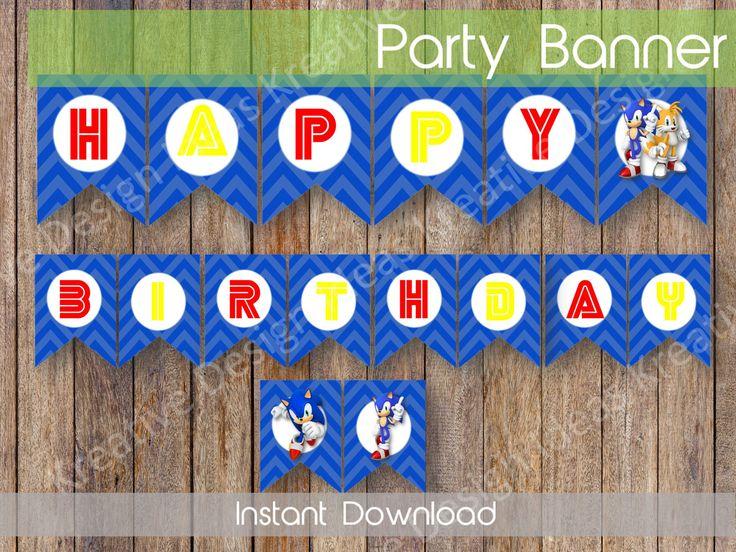 Sonic Birthday Banner Sonic Party Decor Frozen Birthday Banner Instant Download Sonic Banner Digital Sonic Banner INSTANT DOWNLOAD by KreativeDesignIdeas on Etsy