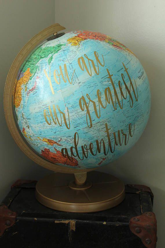 World Globe  Vinyl Lettering  Gold  You are our greatest adventure - Nursery Decor - Nursery Theme -