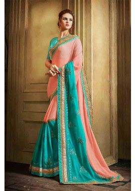rose et bleu ciel couleur georgette et base mousseline avec addition avec lycra, net et de fantaisie sari tissu, - 132,00 €, #Sariindienmariage #Sariindien #Robebollywood #Shopkund