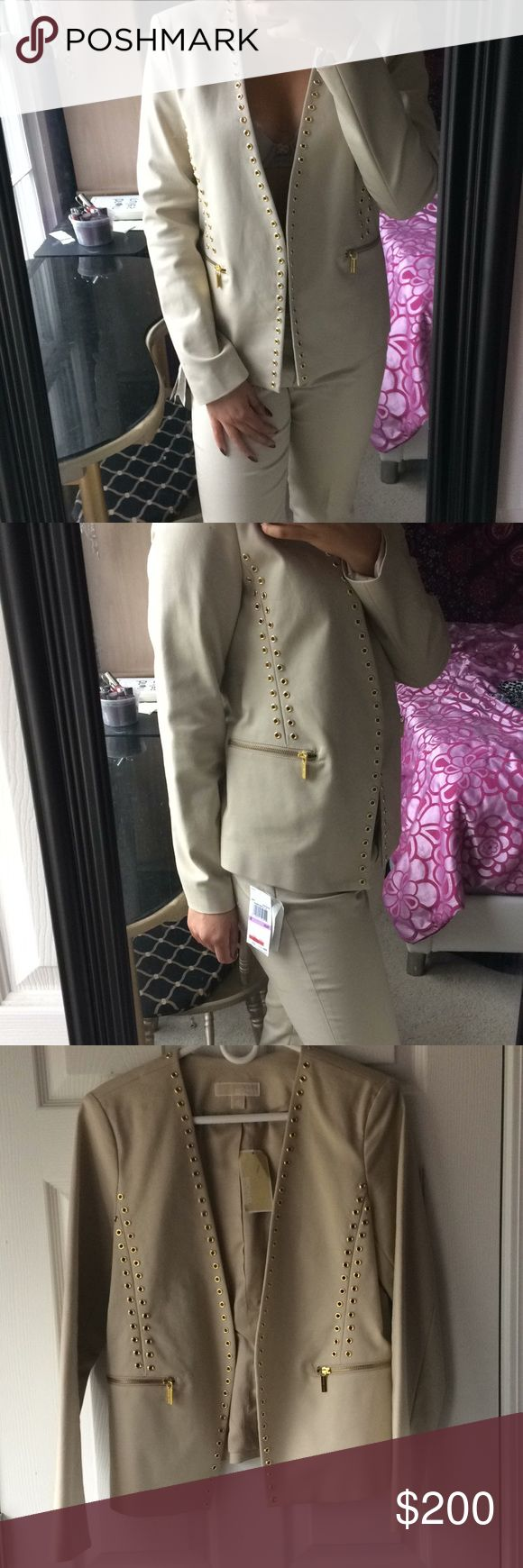 Michael Kors Cream pant suit Michael Kors cream pant suit with gold accents on the blazer and gold chains on the pants. Blazer is a size 12 and pants are a size 6. I'm a size 6 for reference. ❌no trades❌ reasonable offers accepted through offer button MICHAEL Michael Kors Jackets & Coats Blazers