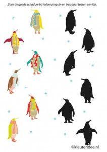 Zoek de schaduw van elke pinguïn, kleuteridee.nl, free printable, thema Noordpool en Zuidpool / penguin silhouette match