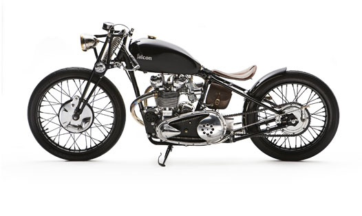 """The Bullet : started as the derelict frame and engine of a 1950 pre-unit Triumph Thunderbird — the bike Marlon Brando rode in """"The Wild One"""". The concept was inspired by what a Triumph board track racer would have looked like, if indeed Triumph had ever created one."""