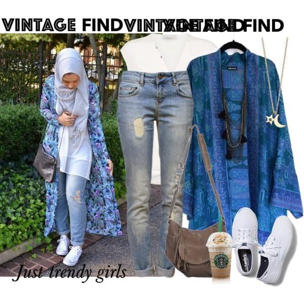 blue maxi kimono outfit, Long kimono cardigan hijab style http://www.justtrendygirls.com/long-kimono-cardigan-hijab-style/