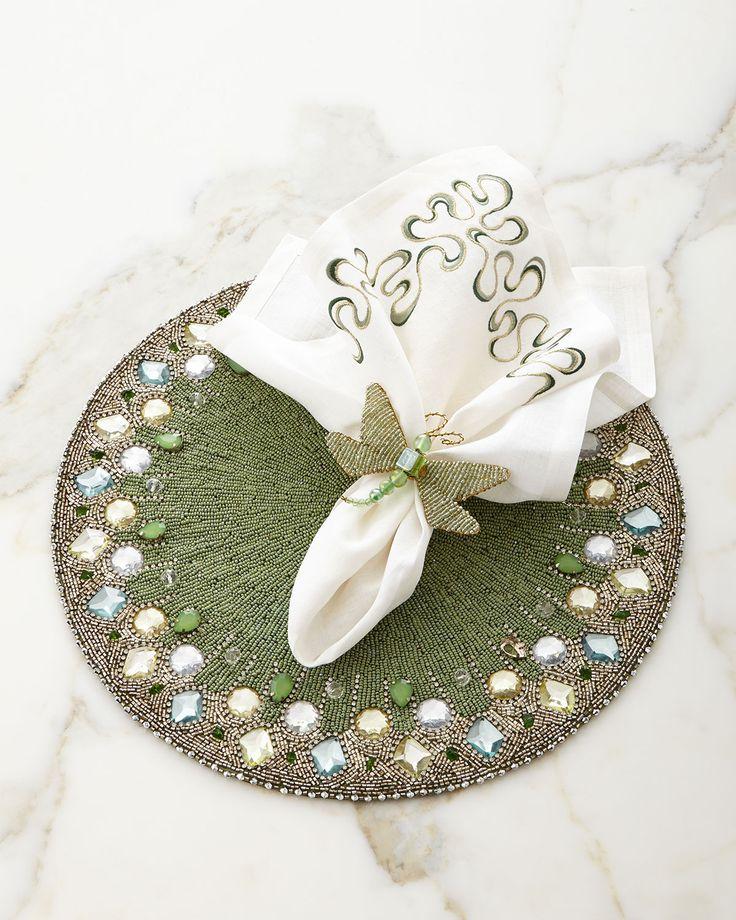 Kim Seybert Aurora Placemat, Mod Swirl Napkin, & Dragonfly Napkin Ring