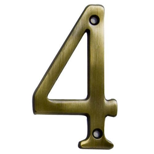 Traditional House Number 4 - Aged Brass - 4""