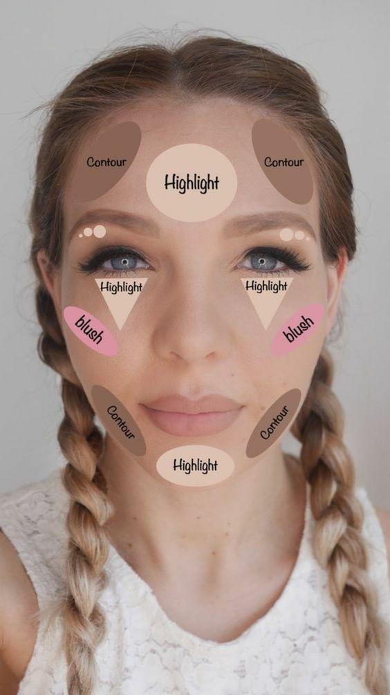 tipps wie man sich selber schminken kann frau mit zöpfen highlight kontur rouge