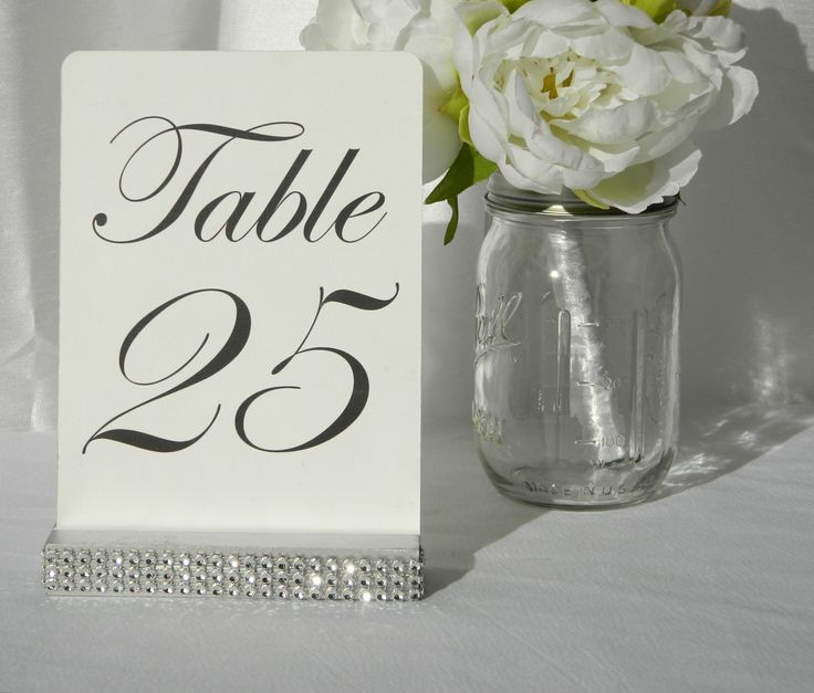 Silver Wedding Table Number Holder with a rhinestone wrap