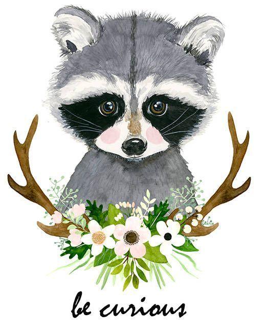Watercolor raccoon Baby raccoon Woodland nursery F…