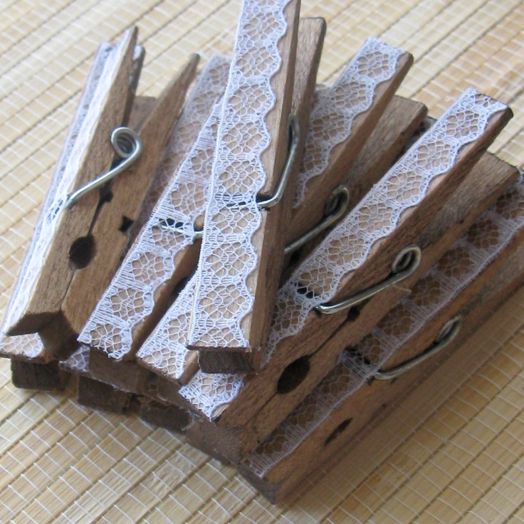 Lace-covered clothespins (10) great for woodland themed weddings parties cottage chic farmhouse decor. $7.00, via Etsy.