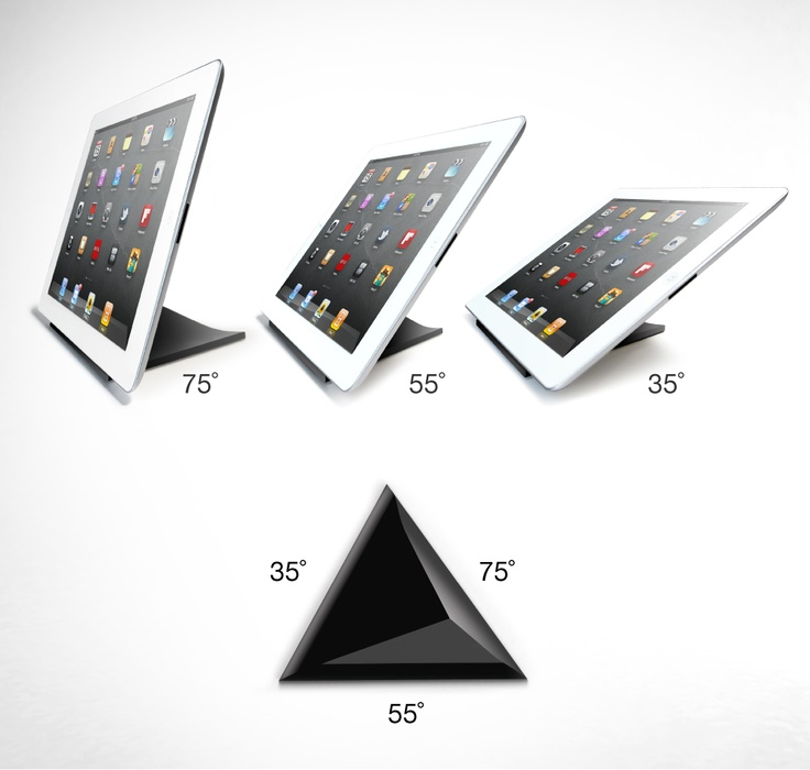 FACET is a magnetic pyramid for iPad. Each side of the pyramid is a different angle – 35°, 55° and 75° – for using and viewing your iPad anywhere you like. Facet's surface area creates a stable stand on couches and beds, and its magnets enable Facet to virtually disappear behind your iPad. Support the Kickstarter campaign: http://www.kickstarter.com/projects/ilovehandles/facet-multi-angle-magnetic-ipad-stand