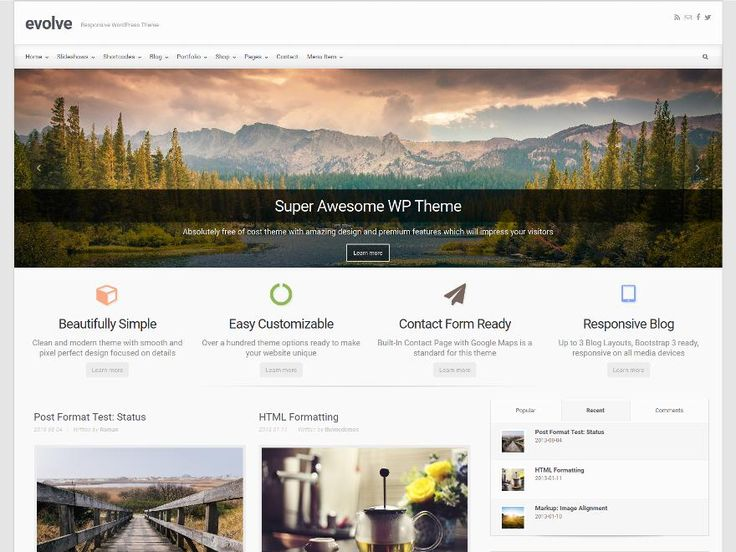 evolve is a multi-purpose WordPress theme that has recently been redesigned as a full responsive theme for all devices. The theme includes a slick Bootstrap andhttp://jabirah.com/m/evolve-multipurpose-wp-theme-with-bootstrap.html