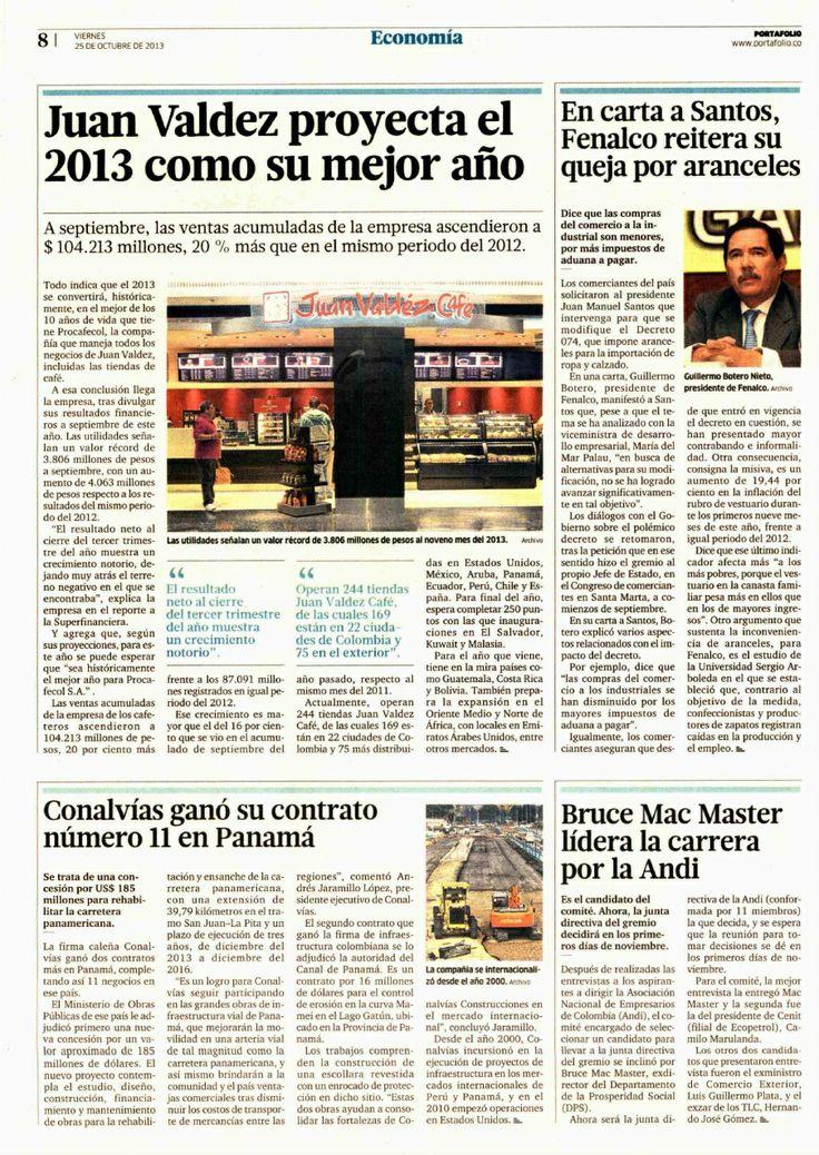 Conalvias gana su contrato número 11 en Panamá.  Periódico Portafolio.  Andres Jaramillo Lopez Conalvias.