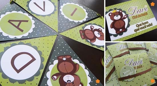 Móbile, placa de boas vindas e convite para chá bebe   Mobile, welcome sign and Shower Invitation.