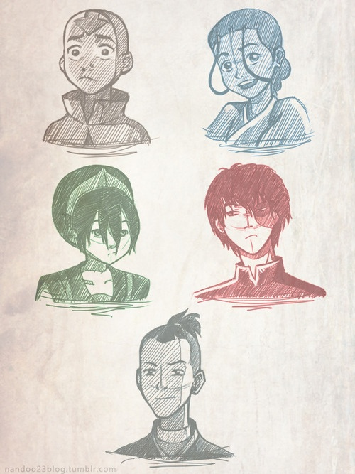 Sketch: Aang, Katara, Toph, Zuko, Sokka  Avatar: The Last Airbender. Gorgeous