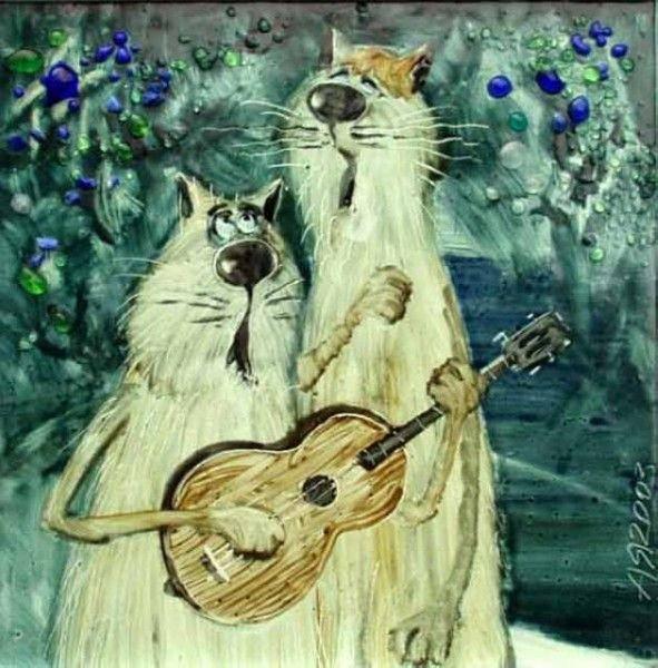 Открытку бабушке, поющие коты картинки рисованные