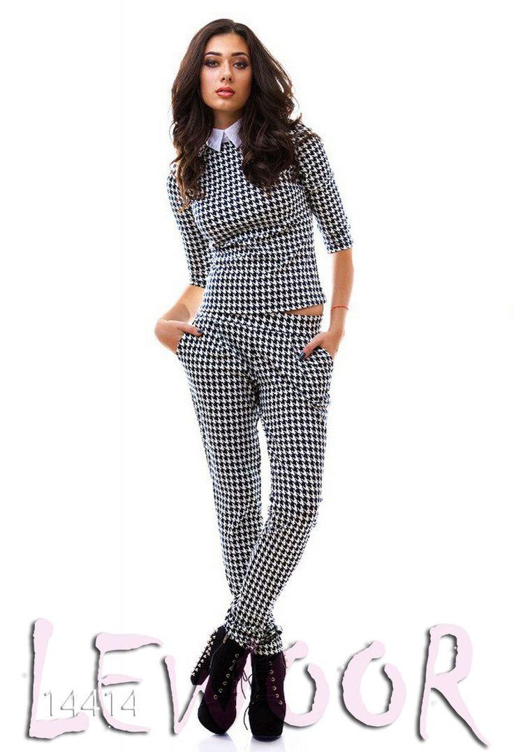 Эффектный трикотажный костюм (кофта с брюками) - купить оптом и в розницу, интернет-магазин женской одежды lewoor.com