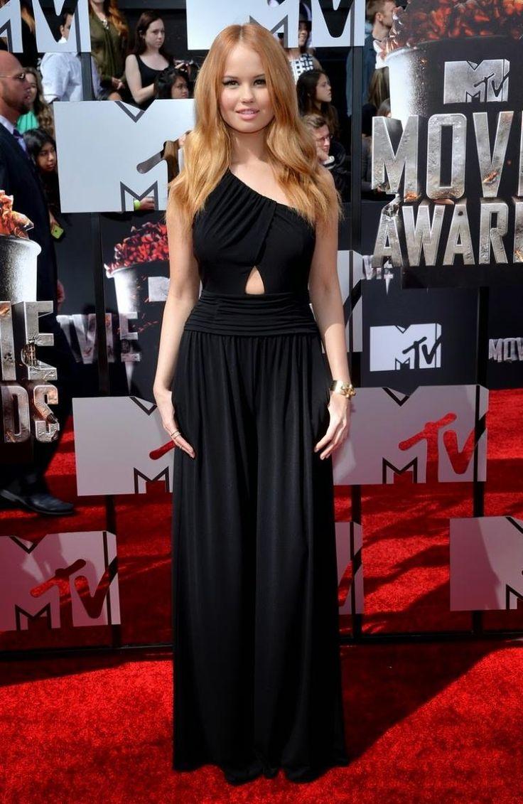 2014 Debby Ryan Mtv Movie Awards 2014 Black One Shoulder Chiffon  Evening Dress Celebrity Vestido De Festa Longo $129.00