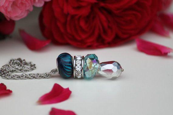 Lampwork glass beaded bracelet. Blue and silver by DeaJewelryStore